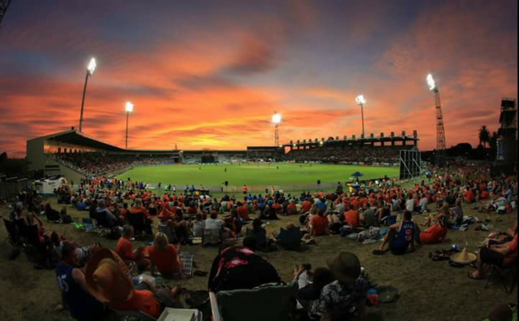 Don't let the sun go down on cricket at McLean Park! (except when it's a gorgeous sunset like this one...)